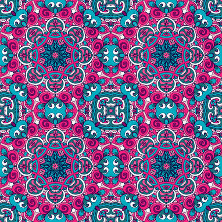 Festival art seamless pattern. Ethnic geometric holiday floral print. Colorful repeating background texture. Fabric, cloth design, wallpaper, wrapping