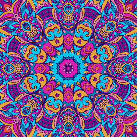 Tribal ethnic indian ethnic seamless vector design. Festive colorful mandala pattern. Geometric mandala fantasy boho flowers. Holi festival background Ilustração