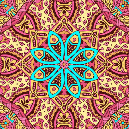 Colorful Tribal Ethnic Festive Abstract Floral Vector Pattern. Geometric mandala seamless design
