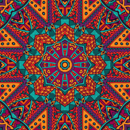 Mandala ethnic festival art seamless pattern. Vector geometric print. Colorful repeating background texture. Fabric, cloth design, wallpaper, wrapping Ilustração