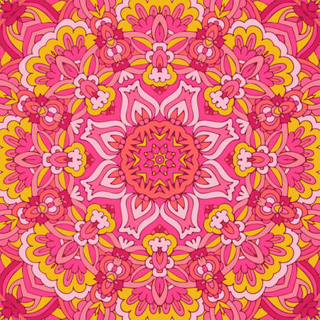 Vector hand drawn doodle Abstract mandala floral design. Ethnic Illustration on doodle style. Pink colors. Ilustração