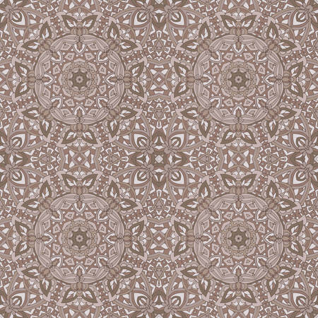 Vintage seamless pattern. Ethnic geometric print. Sepia repeating background texture. Fabric, cloth design, wallpaper, wrapping floor covering design