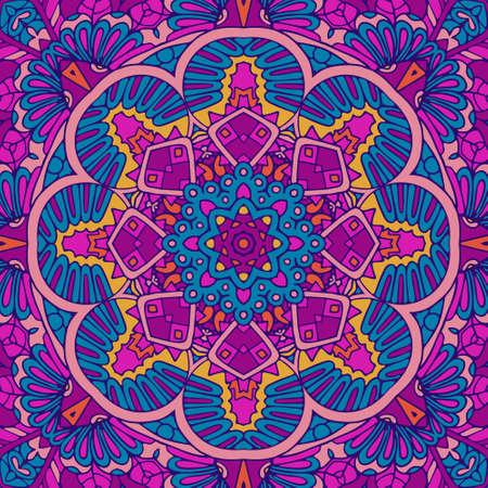 Tribal ethnic indian seamless vector design. Festive colorful mandala art pattern. Geometric medallion fantasy boho flowers. psychedelic festival background frame Ilustrace