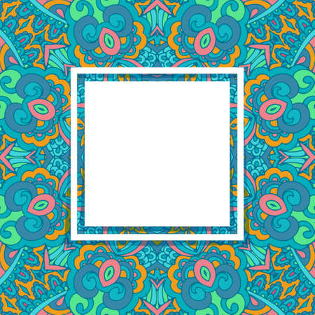 Seamless pattern tile with mandala with square space for text. Vintage decorative backgound frame