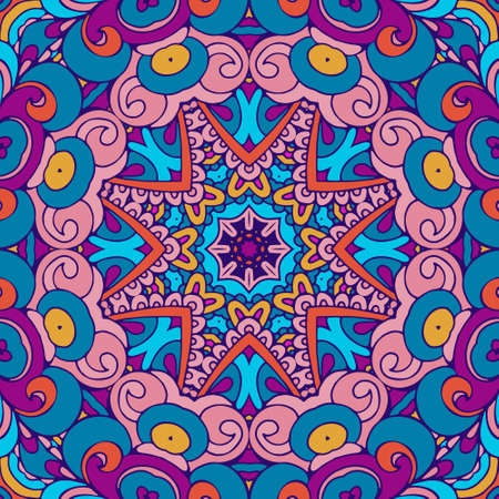 Tribal ethnic indian seamless vector design. Festive colorful mandala art pattern. Geometric medallion fantasy boho flowers. psychedelic festival background frame Ilustração