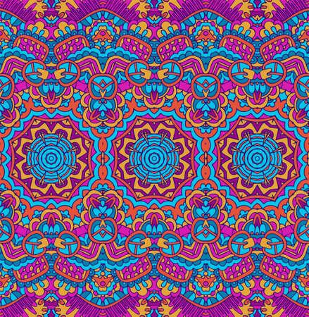 Vector seamless pattern ethnique tribal géométrique psychédélique imprimé coloré
