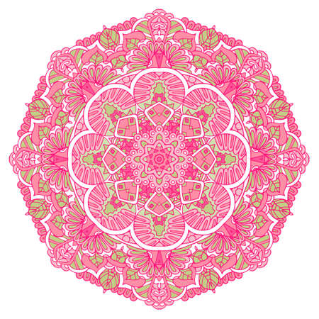 Vector hand drawn flower doodle mandala art medallion. Pink flower symbol