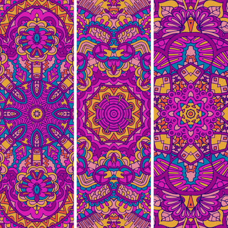 Festive ornamental vector ethnic banner set. Psychedelic mexican color pattern