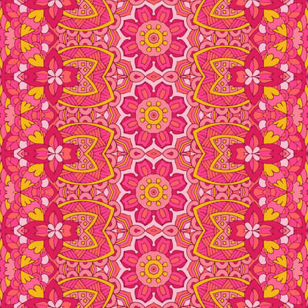 Retro flower seamless pattern with ethnic tribal ornament. Boho design. Pink geometric pattern. Folk stylized print template for paper and textile.