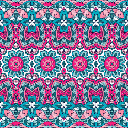 Floral ethnic tribal festive pattern for fabric. Abstract geometric colorful seamless pattern ornamental. Mexican design
