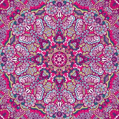 Ornamental doodle vector seamless pattern mandala art. Flower medallion print. Ilustração