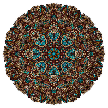 Geometric folk art mandala floral design colorful ornament stylish element