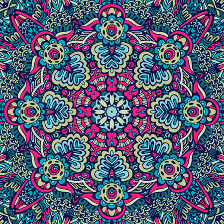 Festival art vector seamless pattern mandala. Ethnic geometric print. Ilustração