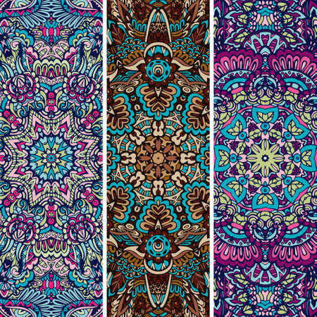 Festive colorful ornamental tribal ethnic bohemia fashion abstract banner set Ilustração
