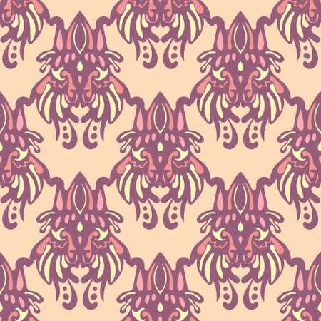 Damask flower tile seamless ornamental pattern vintage.