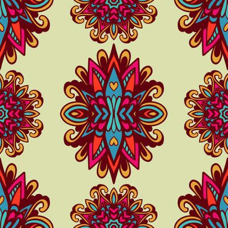 Damask vector festive yellow abstract seamless pattern Ilustração