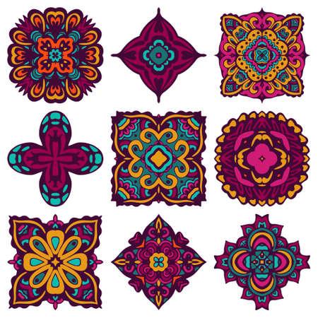 Colorful boho ornamental ethnic decorative tiled elements.