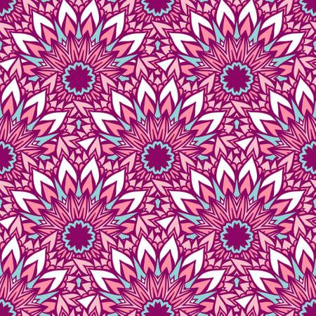 Floral sun mandala vector seamless pattern pink