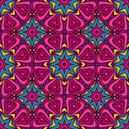 Abstract geometric mosaic stars and circles seamless pattern