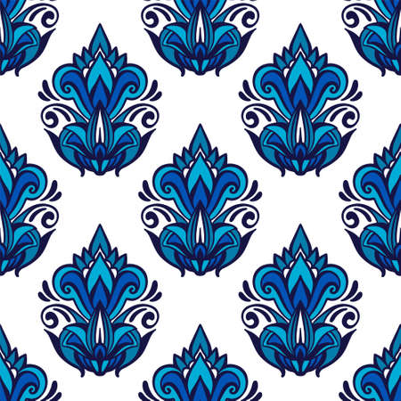 Blue damask flourish seamless pattern vector