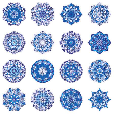 Vector Snowflakes Blue Floral Mandala ornamental set.