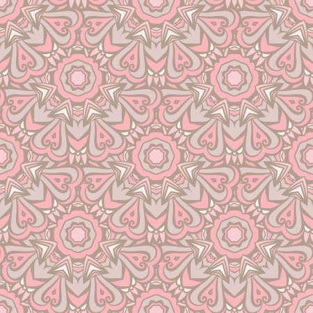 Pink seamless pattern with ethnic geometrc ornament. Boho design.