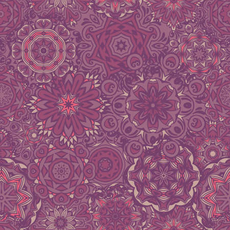 Vintage seamless mosaic damask tile design pattern background.