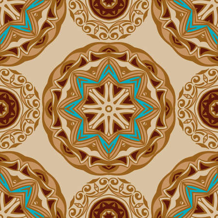 Tiled ethnic pattern for fabric. Abstract geometric mosaic circles seamless background
