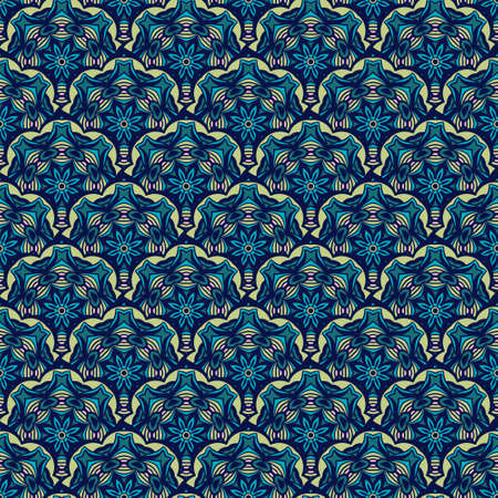 Blue oriental pattern for tiles and fabric. Abstract geometric vintage seamless pattern ornamental.