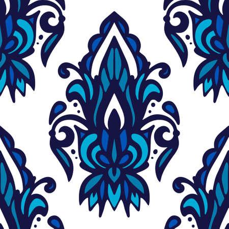 Damask flower vector seamless pattern blue and white tile . Ilustração