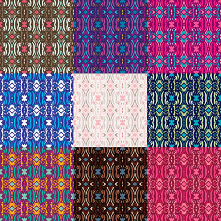 Ethnic tribal vector seamless pattern set. Colorful collection