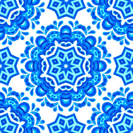 Seamless pattern handdrawn watercolor ornament blue and white with floral elements Imagens