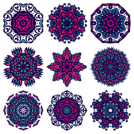 Set of ornamental mandala art flower. Design sing snowflake vector graphic collection. Round ornament pack
