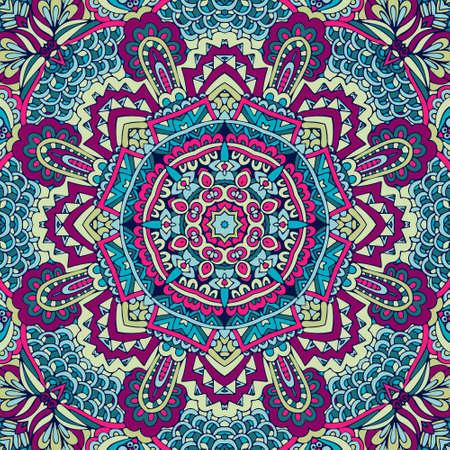 Tribal indian ethnic seamless design. Festive colorful mandala pattern Vectores