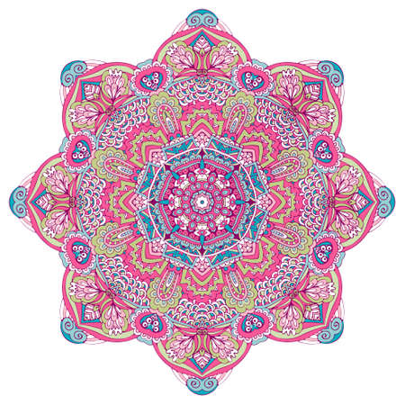 Vector hand drawn doodle mandala. Ethnic star flower with colorful ornament. Isolated. Illustration border frame in doodle style. 向量圖像
