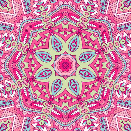 Tribal indian ethnic seamless design. Festive colorful mandala pattern.