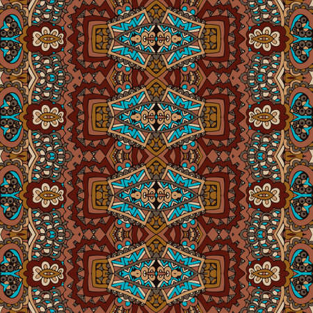 Vector seamless pattern african style art batik ikat. Ethnic brown color print vintage design.