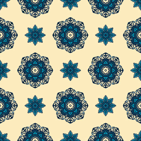 Vintage oriental pattern for tiles and fabric. Abstract geometric ornamental.