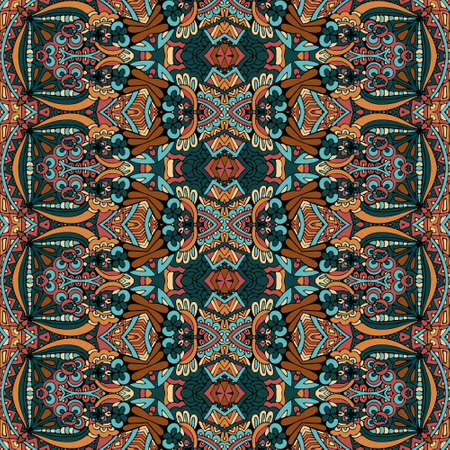Vector seamless pattern indian art batik ikat.