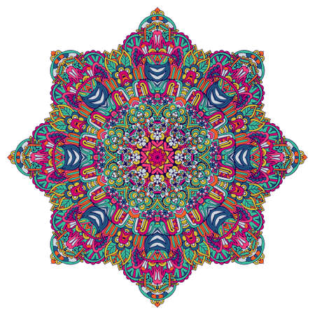 Indian floral paisley ornament. Ethnic Mandala flower print. Festive colorful design element isolated Vectores