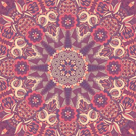 Tribal indian flower ethnic seamless design. Festive colorful mandala pattern ornament