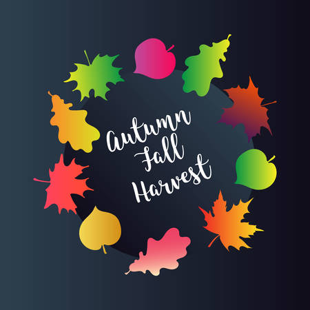 Autumn sale vector retro poster with abstract blurred fall background and white leafs Vectores