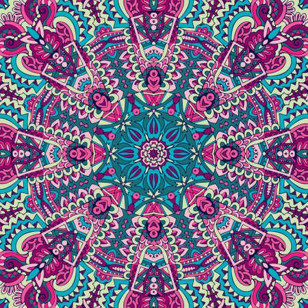 Indian floral paisley medallion pattern. Ethnic Mandala ornament. Vectores