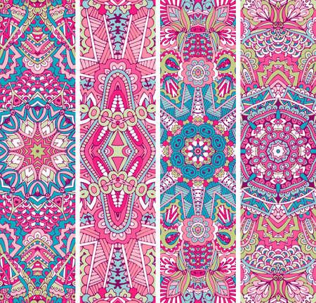 Festive doodle colorful ornamental vector ethnic banner set Vectores