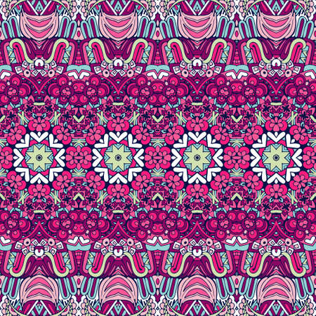 Abstract festive colorful floral vector ethnic tribal pattern