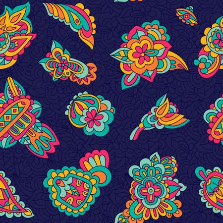 Seamless vector paisley pattern floral abstract design