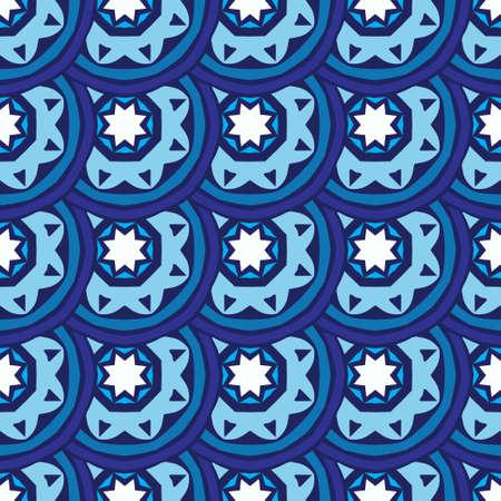 Blue oriental damask flourish seamless vector design