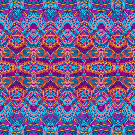 Abstract festive colorful grunge vector ethnic tribal pattern Vectores