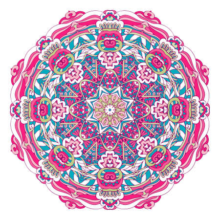 Abstract mandala floral design colorful ornament stylish element Vectores