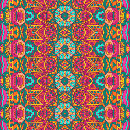 Festive colorful seamless vector pattern psychedelic doodle art Vectores